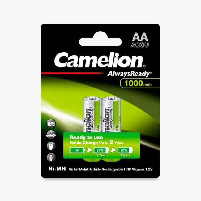 Camelion AlwaysReady Ni-MH Rechargeable 1000mAh AA Battery   2 Pack