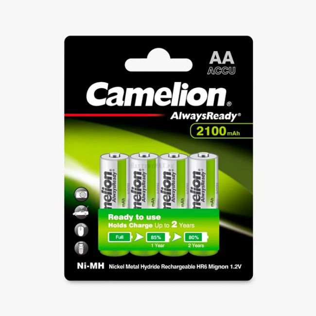 Camelion AlwaysReady Ni-MH Rechargeable 2100mAh AA Battery   4 Pack