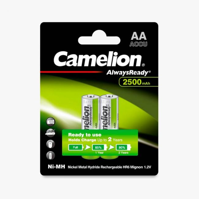 Camelion AlwaysReady Ni-MH Rechargeable 2500mAh AA Battery   2 Pack