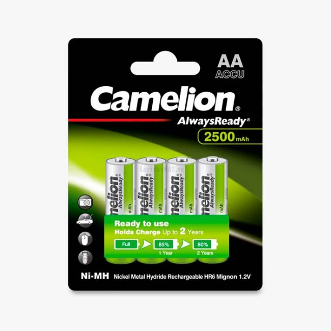 Camelion AlwaysReady Ni-MH Rechargeable 2500mAh AA Battery   4 Pack
