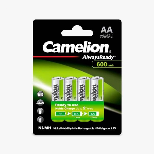 Camelion AlwaysReady Ni-MH Rechargeable 600mAh AA Battery   4 Pack