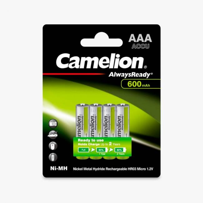 Camelion AlwaysReady Ni-MH Rechargeable 600mAh AAA Battery   4 Pack