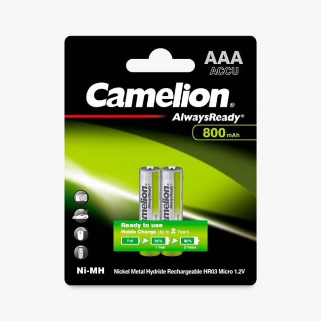 Camelion AlwaysReady Ni-MH Rechargeable 800mAh AAA Battery   2 Pack