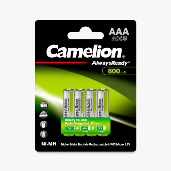Camelion AlwaysReady Ni-MH Rechargeable 800mAh AAA Battery   4 Pack